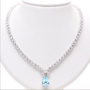 Pear faceted Zirconia marque faceted necklace